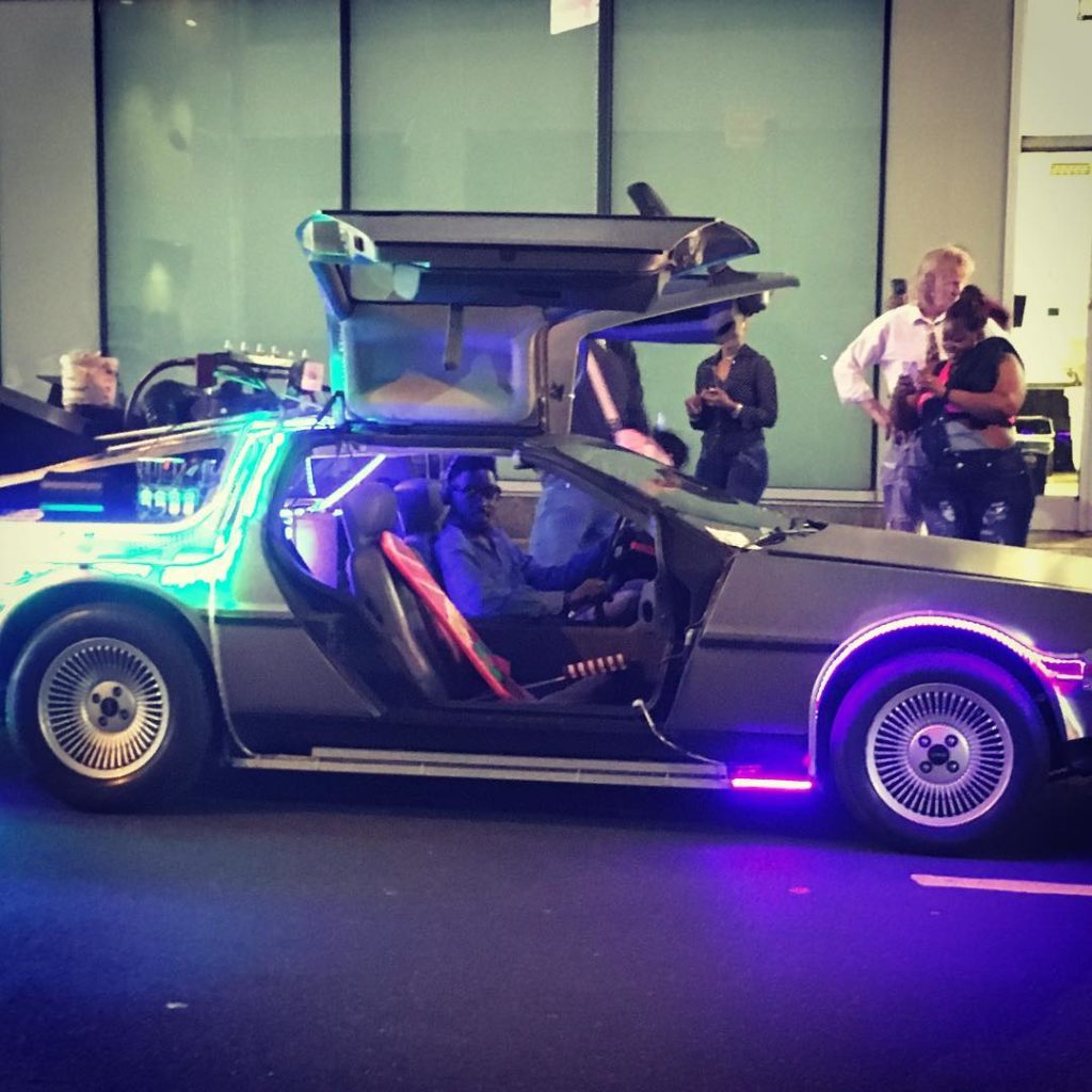Heading Back to the Future with homemade neon trim delorean