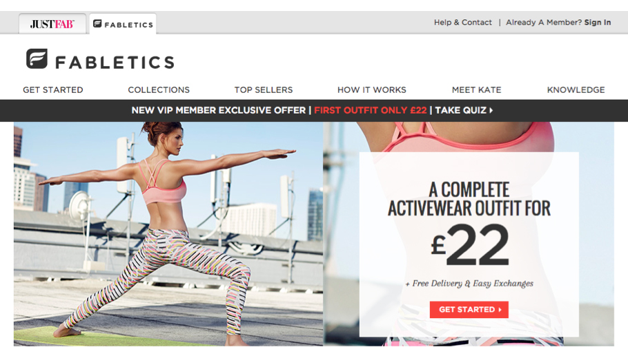 Fabletics' UK Homepage and Registration Process